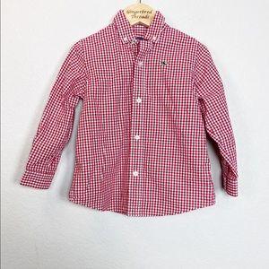 Vineyard Vines Red Plaid Button Down Shirt 2T